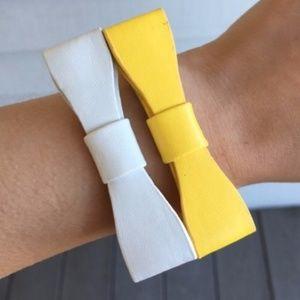 White Faux Leather Bow Bracelet